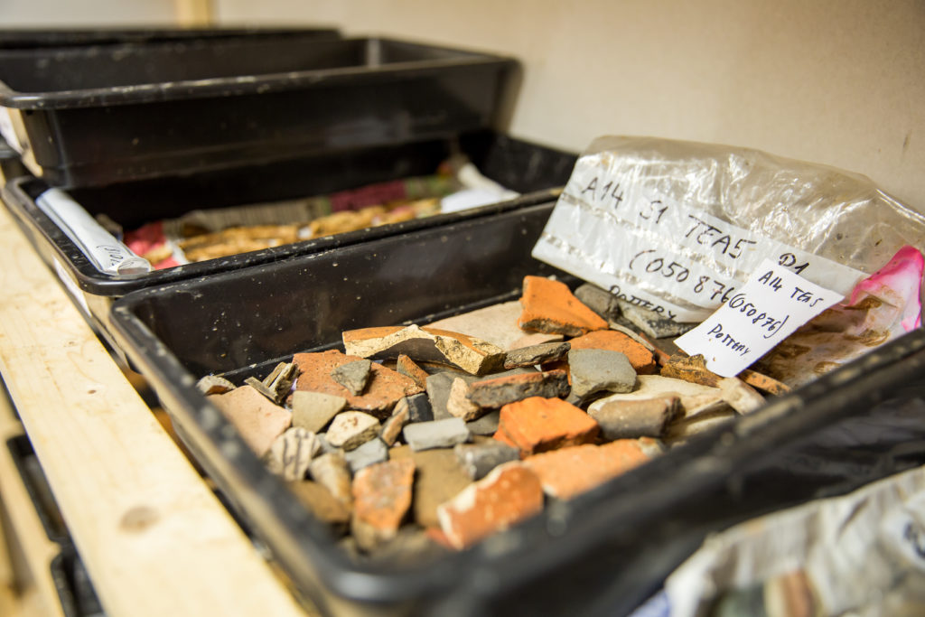 Pottery from the excavations is dried on heated shelving (c) A14C2H courtesy of MOLA Headland Infrastructure