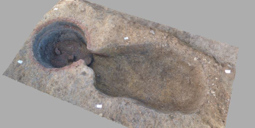 Photogrammetry of Roman kiln in Cambridgeshire (c) A14C2H courtesy of MOLA Headland Infrastructure