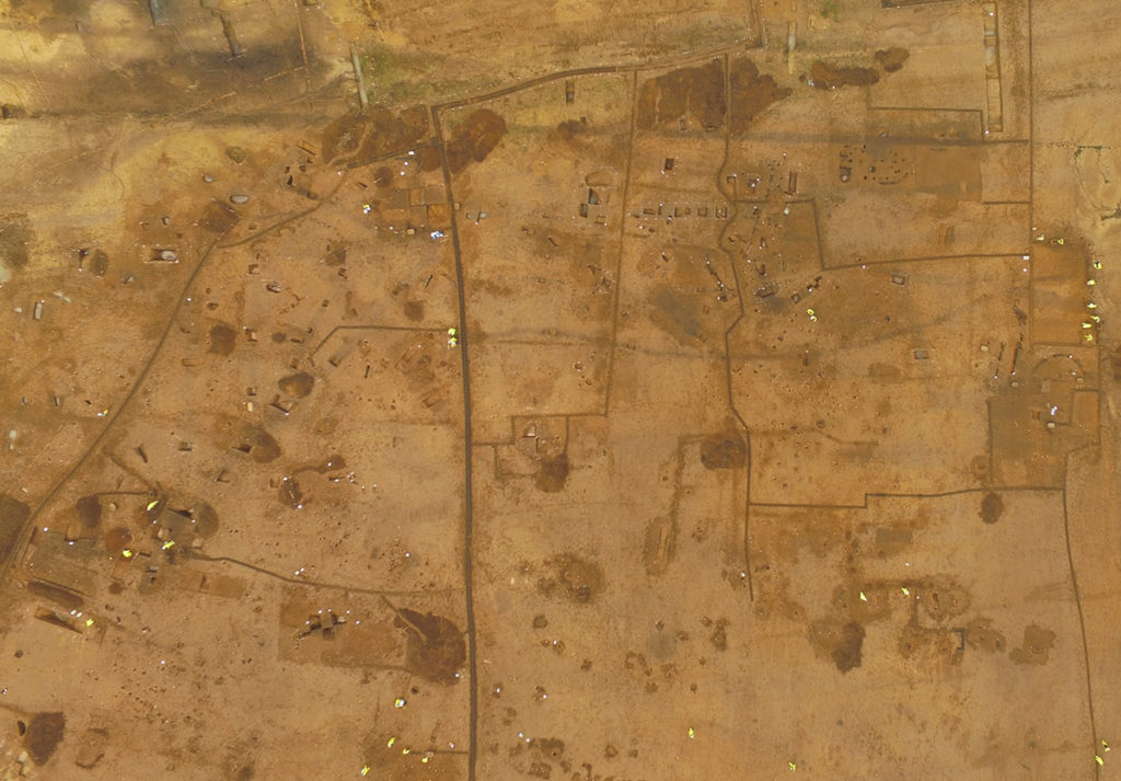 Aerial view of the abandoned medieval village of Houghton (c) A14C2H courtest of MOLA Headland Infrastructure