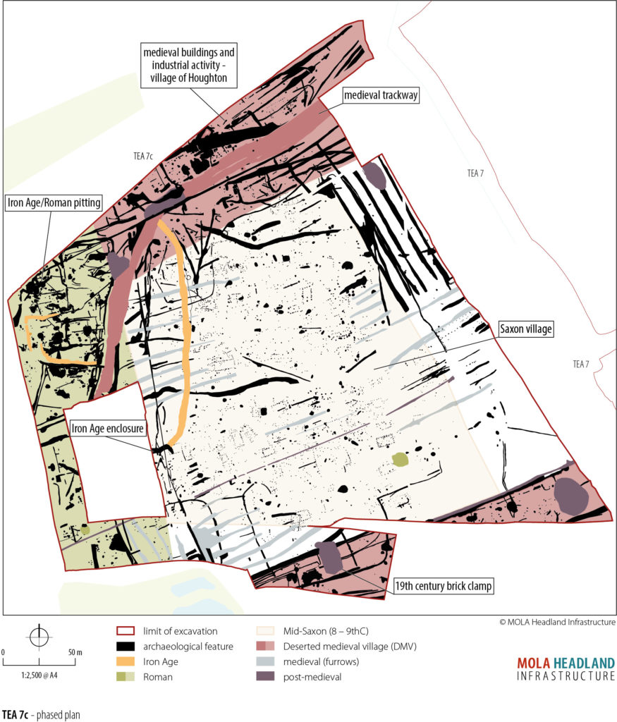 Phased plan of A14C2H Deserted Medieval Village (c) A14C2H courtesy of MOLA Headland Infrastructure