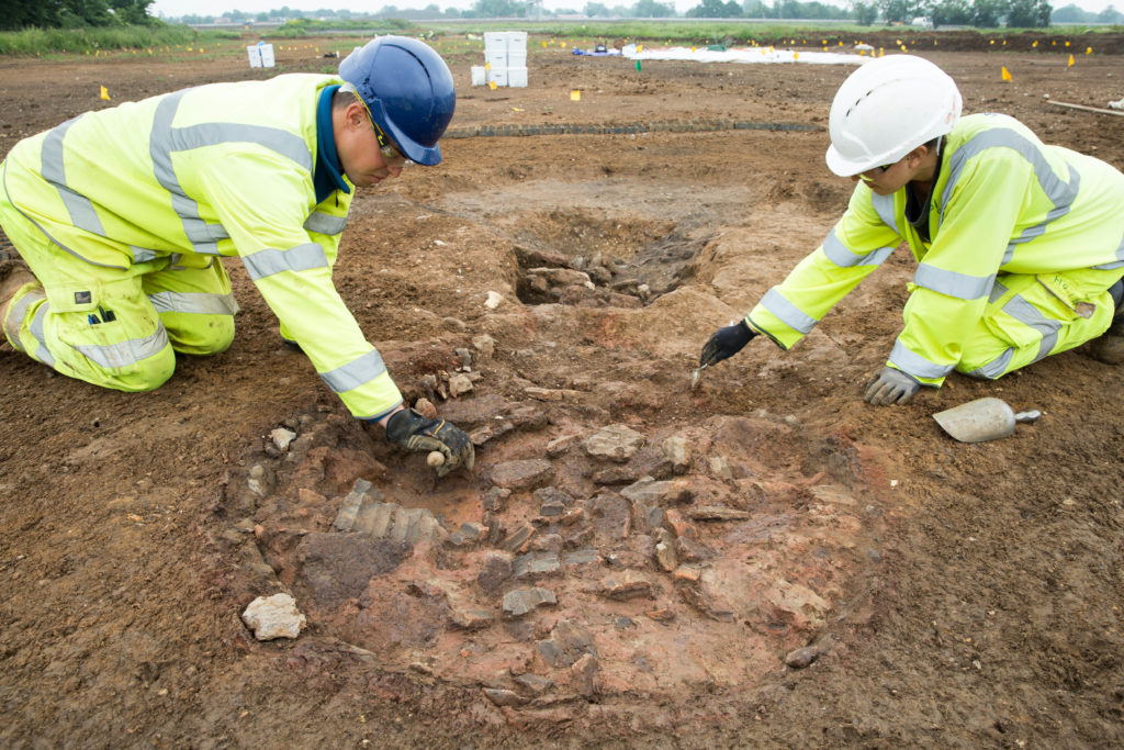 The remains of an early-Roman pottery kiln being excavated for A14C2H (c) Highways England, courtesy of MOLA Headland Infrastructure