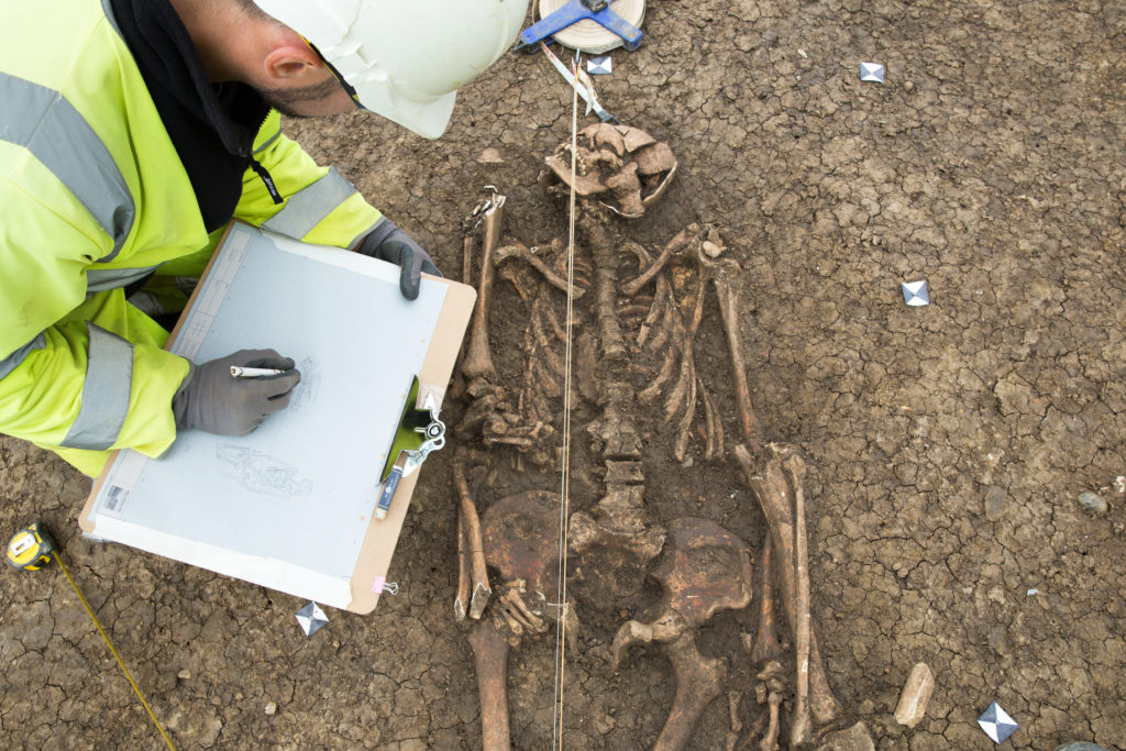 Unusual Roman burial being recorded (c) Highways E
