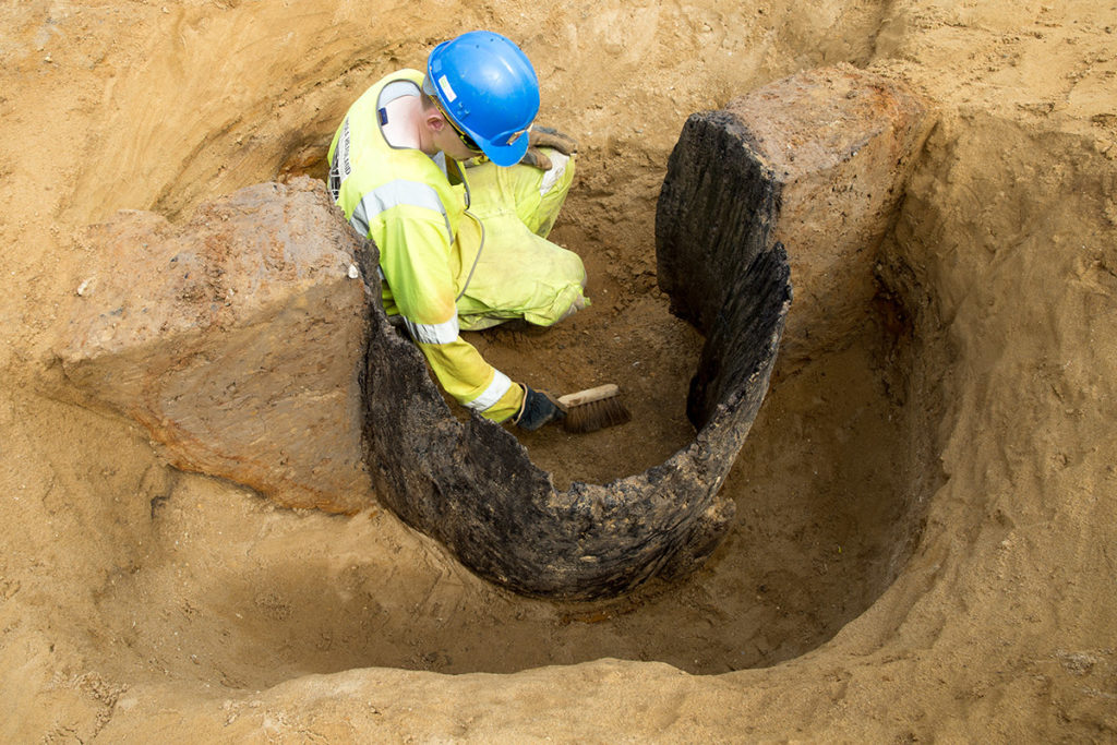 The remains of an Anglo-Saxon wood-lined well (c) Highways England courtesy of MOLA Headland Infrastructure