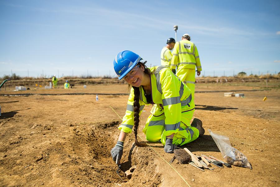 A14C2H Community Dig volunteer Gwendoline (c) Highways England, courtesy of MOLA Headland Infrastructure