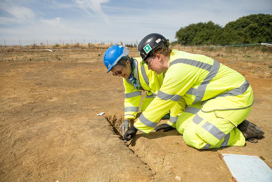 A14C2H Community Dig volunteer Josephine (c) Highways England, courtesy of MOLA Headland Infrastructure