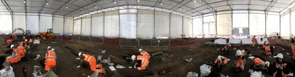 A team of expert archaeologists excavate burials at Park Street in Birmingham (c) HS2 courtesy of MOLA Headland Infrastructure