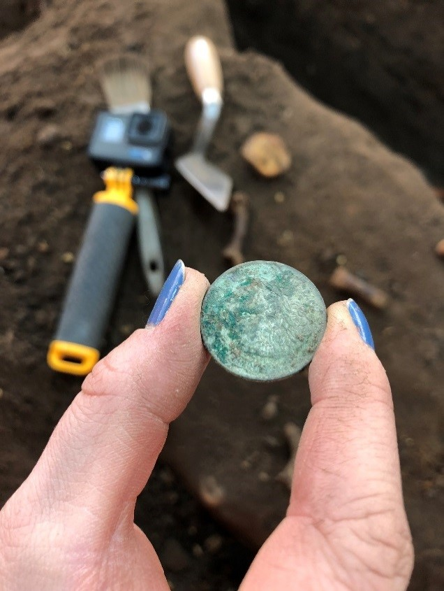 A coin was recovered from a grave but not associated with the skeleton (c) HS2, courtesy of MOLA Headland Infrastructure