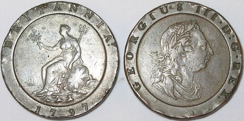 Cartwheel two pence coins made at the Soho Mint, Birmingham, England, © courtesy of Detecting