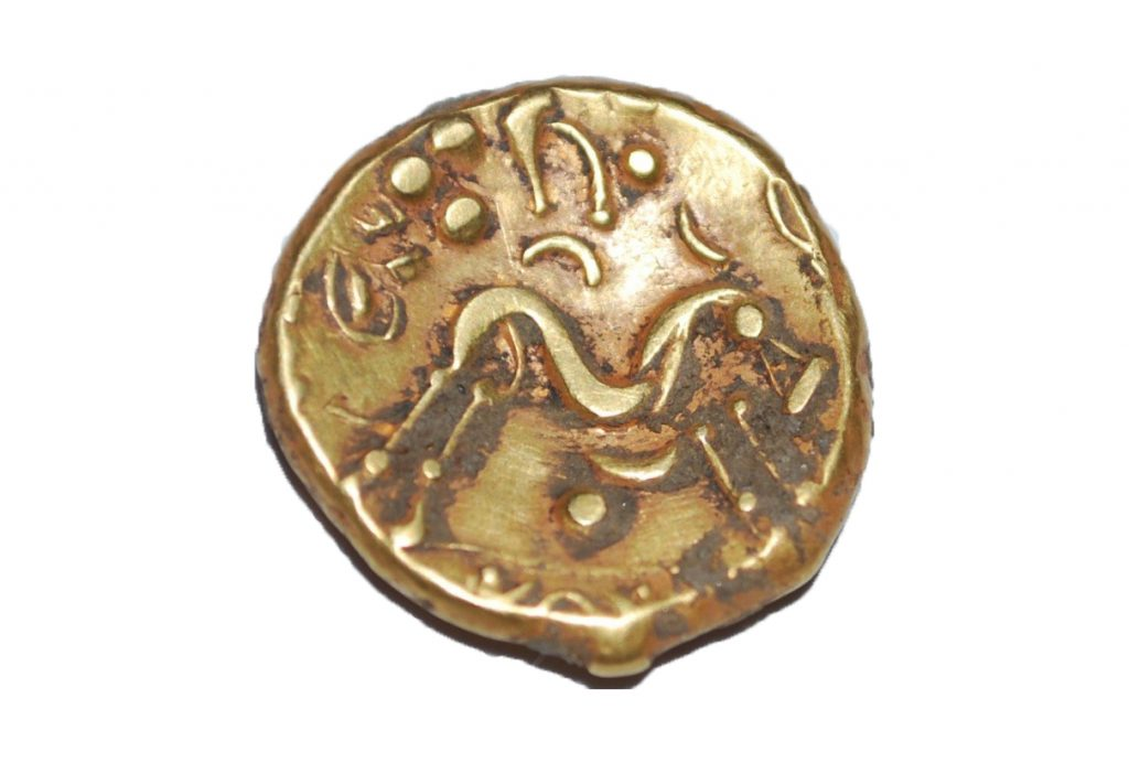 Detail of horse on Iron Age gold coin discovered on A14C2H (c) Highways England courtesy of MOLA Headland