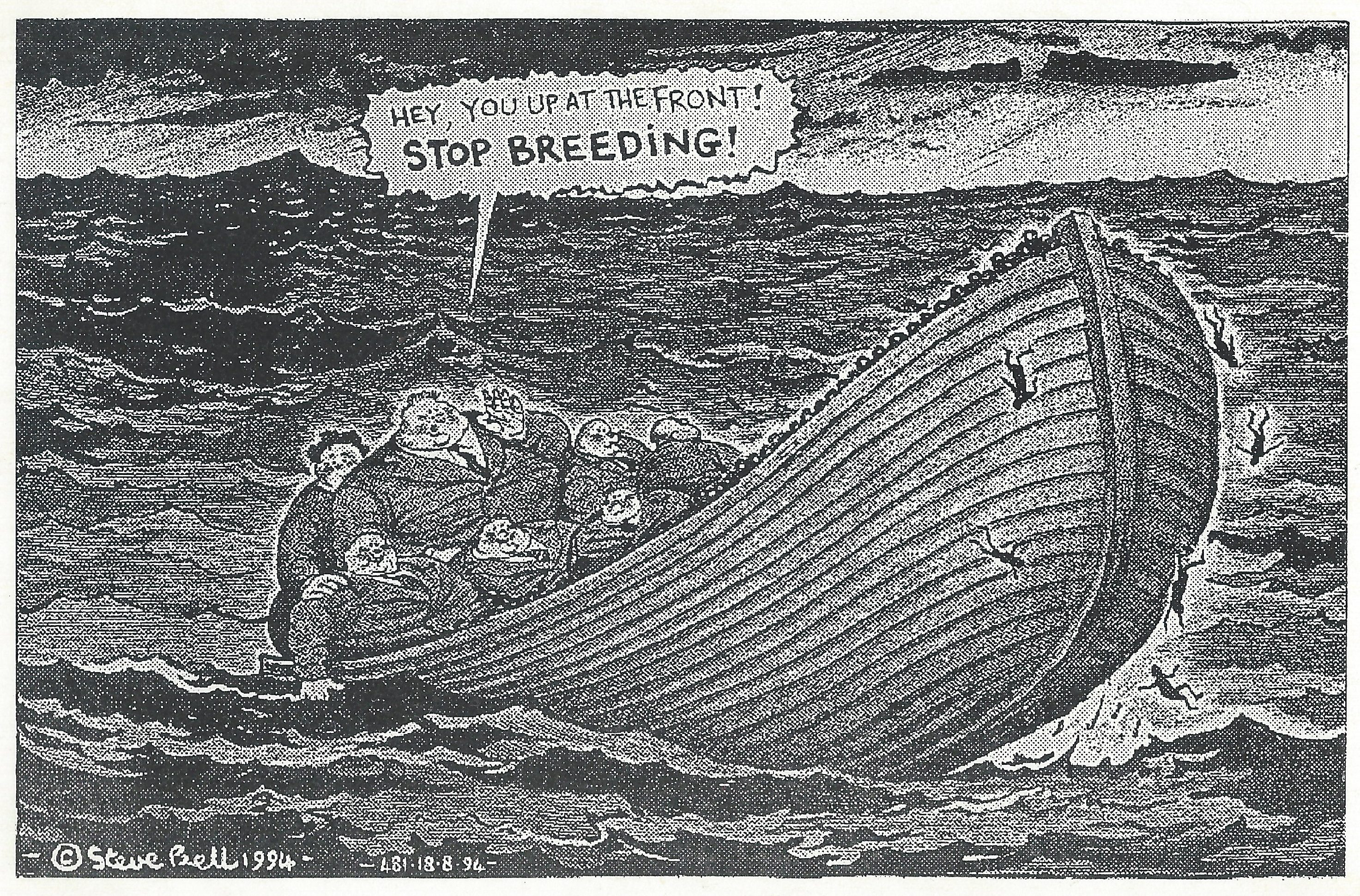 Steve Bell's political cartoon (1994) illustrating how attitudes to population growth endure through the years.