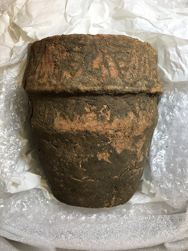 A complete Bronze Age collared cremation urn (c) Highways England courtesy of MOLA Headland Infrastructure