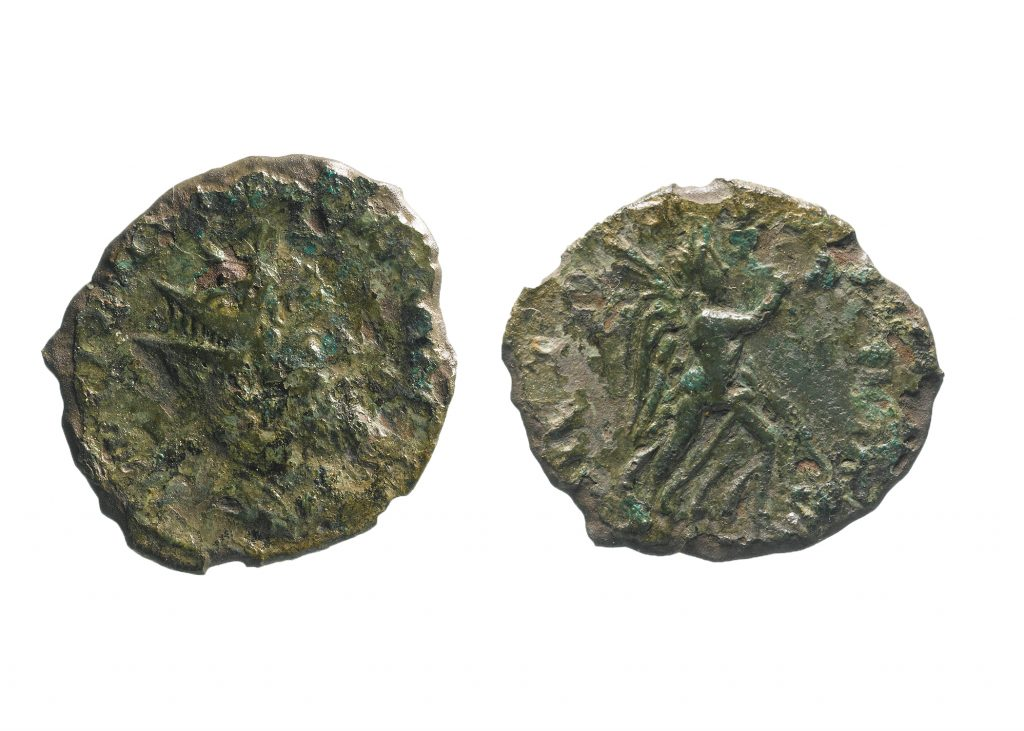 This is one of very few coins of Emperor Laelianus to be discovered in England (c) Highways England courtesy of MOLA Headland