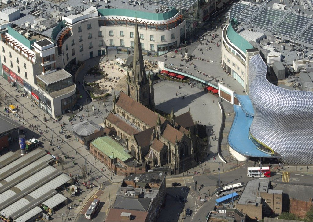 Aerial view of St Martin-in-the-Bullring, Birmingham