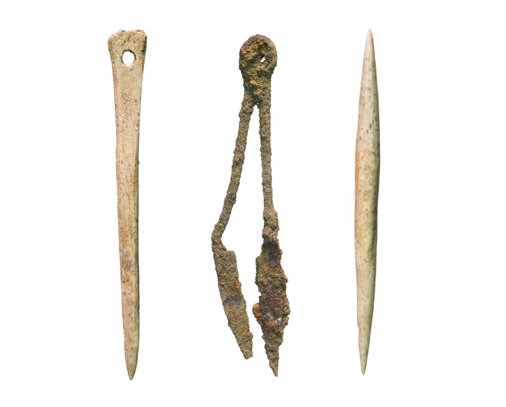 Bone needle and threadpicker and iron shears discovered on A14C2H (c) Highways England courtesy of MOLA Headland