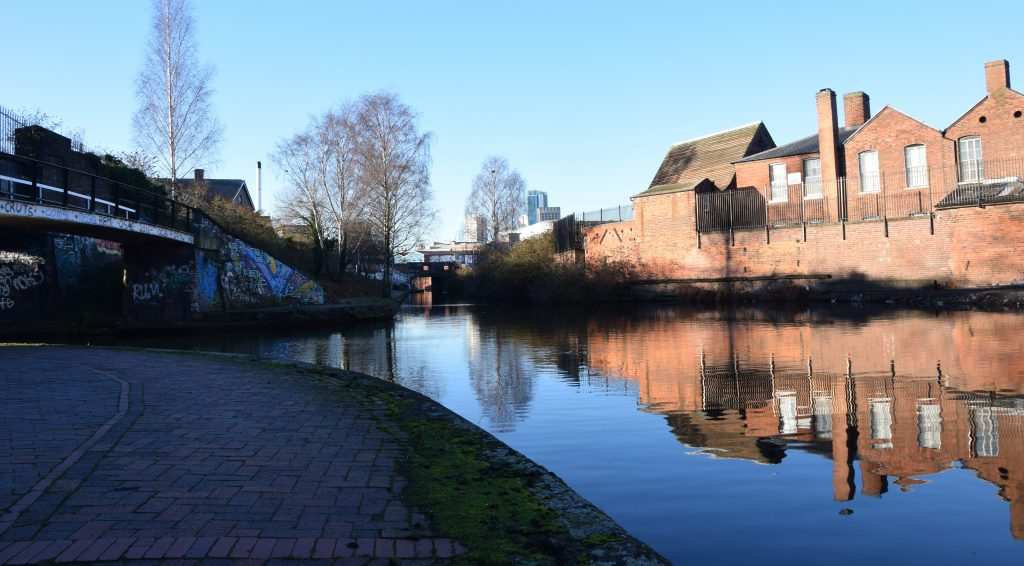 Birmingham is at the heart of the British canal network (Digbeth Branch Canal at the junction with Warwick Bar)