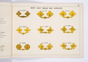 Page of cast brass handles from the Newman Brothers Catalogue