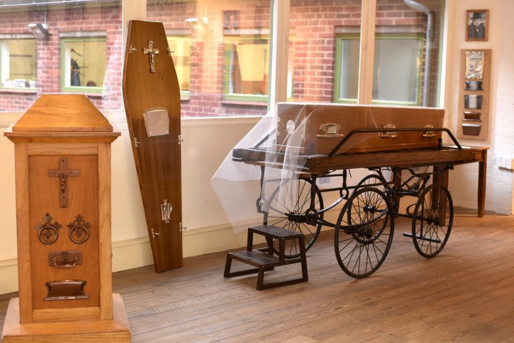 tradeshow stand exhibition at the coffin works showing coffin furniture designs