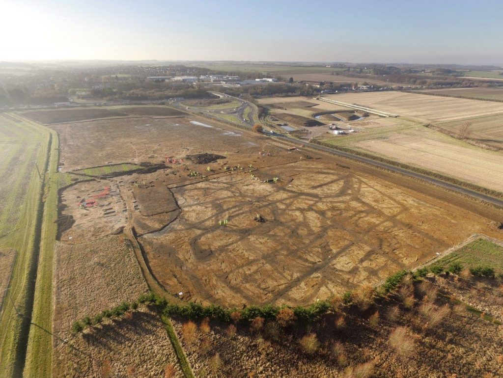 Aerial view of TEA38, an archaeological site on the A14 Cambridge to Huntington Improvement Scheme (c) HIghways England, courtesy of MOLA Headland Infrastructure