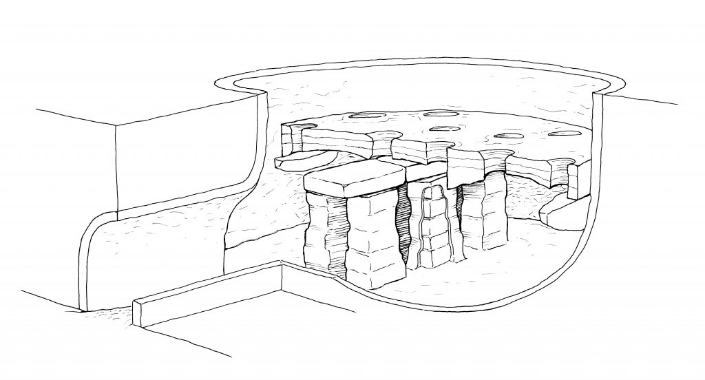 A cross section diagram of a Roman updraught kiln showing the arrangement of a movable floor propped up on pilasters, on which pots would be stacked. Above ground level, a dome of clay and turf (not pictured) would insulate the load. A fire would then be set in the opening on the left (the 'firebox' or 'flue'), the resulting heat being drawn up into the kiln by air currents.